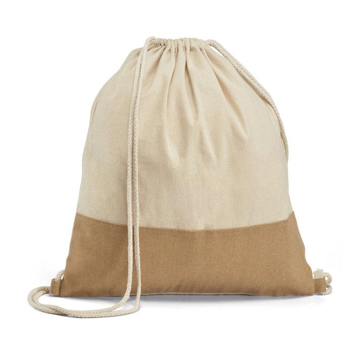 Mochila de juta com bolso, com detalhe de tranças de juta